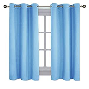 NICETOWN Home Fashion Thermal Insulated Solid Grommet Blackout Curtain Panels for Bedroom (1 Pair,42 Inch Wide by 63 Inch Long,Blue)