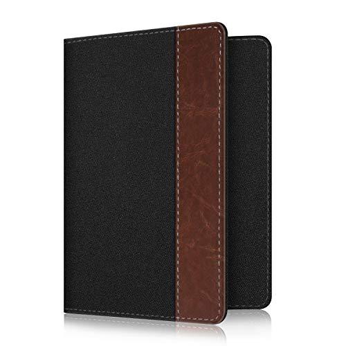 Fintie Passport Holder Travel Wallet RFID Blocking Fabric Card Case Cover, Denim Black