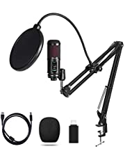 OTHA Kit de micrófono USB, micrófono cardioide profesional de 192 KHZ/24 BIT, kit de micrófono con brazo de tijera ajustable, para podcasting, juegos, YouTube