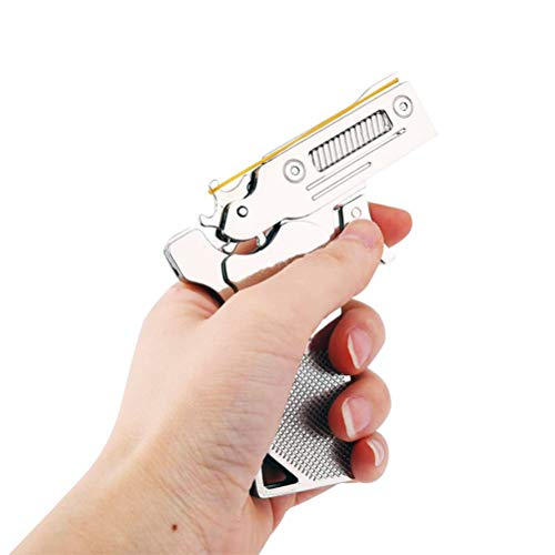 Sunny Hill Classic Folding 6 Bursts Rubber Band Gun Semi-Automatic Portable Zinc Alloy Toy (Sliver)