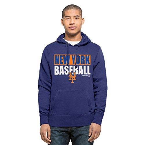MLB New York Mets Men's '47 Headline Pullover Hood, Royal, Small (Mets Sweatshirt Mens)