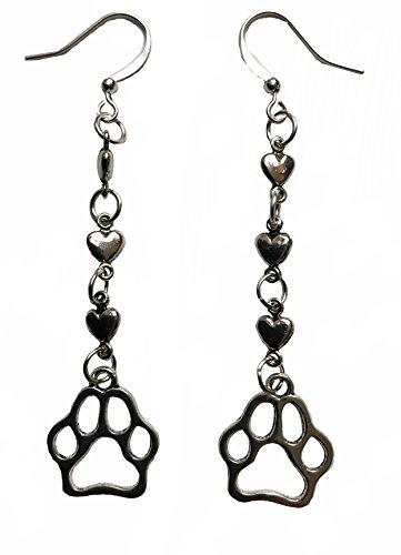 (I love my pet dog cat heart and paw print earrings)