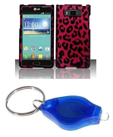 Hot Pink and Black Leopard Design Shield Case + Atom LED Keychain Light for LG Optimus Showtime L86C (Phone Cases For Lg L86c Optimus)