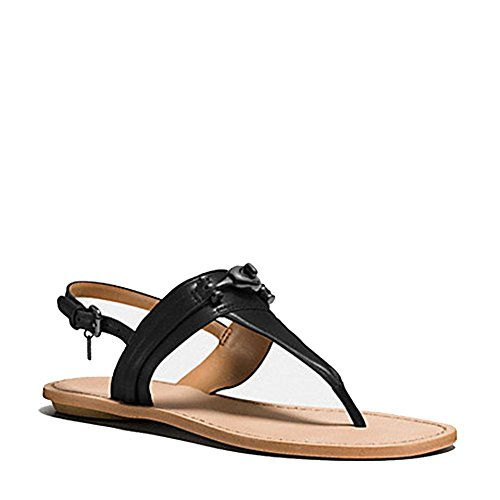 Coach New York Women's Q9081 Metal Embellished Tanned Leather Thong Sandals Black 7 M