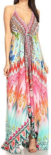 Sakkas 1817 - Lizi Womens Maxi High-Low Halter Handkerchief Long Dress Beach Party - TRM231-Multi - OS