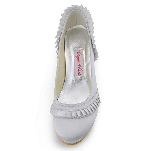 ElegantPark EL-041 Mujer Punta Rotondas Chunky Aguja Tacon Saten Reception boda Novia zapatos Plateado