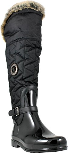 Santana Canada Women's Clarissa2 Tall Rain Boot,Black Brushed Premium Nylon,US 1 by Santana Canada