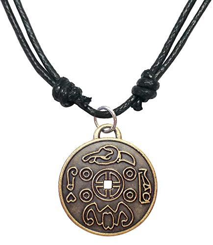 Bijoux De Ja Antique Bronze Money Amulet Coin Medal Pendant Adjustable Cord Necklace 16