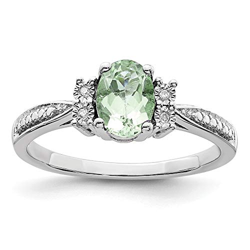 925 Sterling Silver Diamond Green Quartz Band Ring Size 6.00 Gemstone Fine Jewelry Gifts For Women For Her