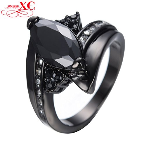 [AYT Size 6/7/8/9/10/ Black Gold Filled Horse Eye Ring Anel Anies Wedding Engagement Ring For Women Bridal Bohemian Anel Anies] (Affordable Costumes)