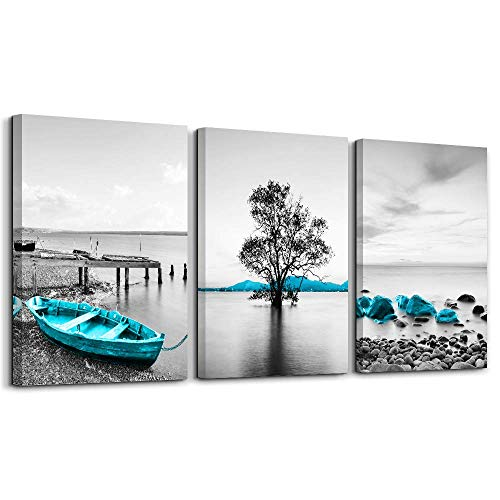 (Wall Decor for Bedroom Black and White sea Tree Picture Home Decor Blue Boat Stone Wall Art Giclee Print on Canvas with Wooden Framed Ready to Hang Single Piece)