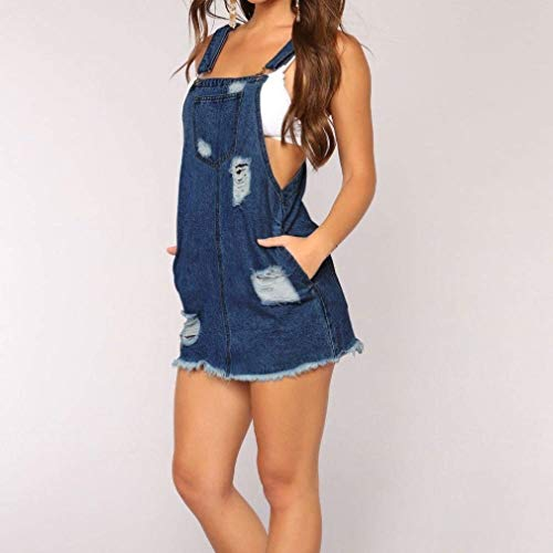 Jumpsuit Casual Jeans Romper Shorts Aire With Libre Al Pockets Ripped Pantalones Bib Ropa De Mujer Short Siamese Blau qwF4FYP