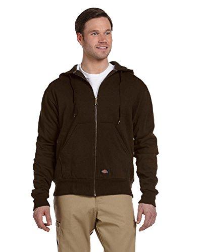 Dickies Men's Thermal Lined Zip Hooded Fleece Jacket, Dark Brown, Small