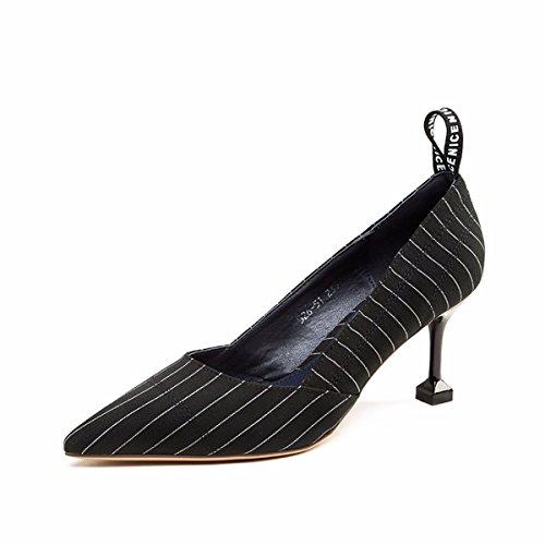 AJUNR Moda/Elegante/Transpirable/Sandalias Los Zapatos Muelle Superficial 7cm Zapatos de Tacón pies Puntiagudos Talón Delgado blue