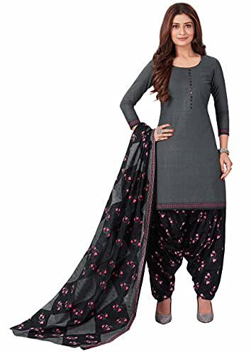 Miraan Women Cotton Unstitched Dress Material (BANDCOL805, Grey, Free Size)