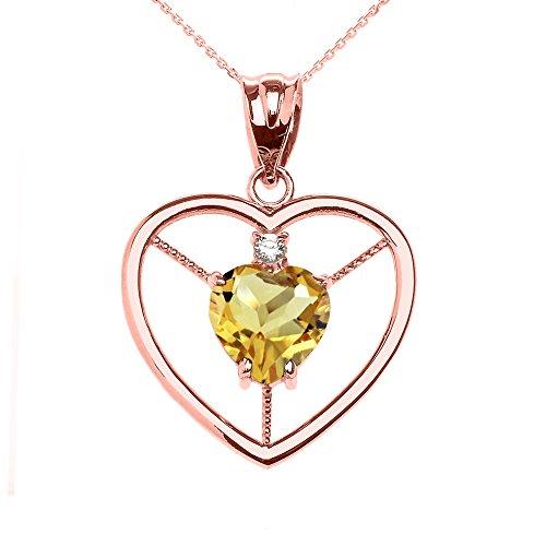 Collier Femme Pendentif Élégant 10 Ct Or Rose Citrine et Diamant Solitaire Cœur (Livré avec une 45cm Chaîne)