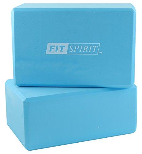 FIT SPIRIT Set of 2 Blue Exercise Yoga Blocks - 9