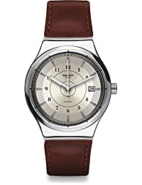Swatch Men's 42mm Brown Leather Band Steel Case Automatic Silver-Tone Dial Analog Watch YIS400