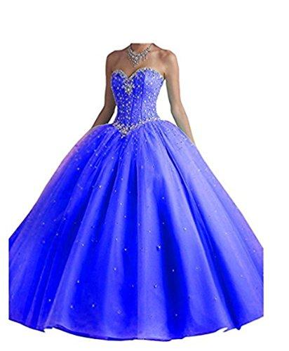 Dress Tulle Royal Prom Dress Beads Long Women's Blue ANGELA Gown Ball Quinceanera Bq0zgBnT