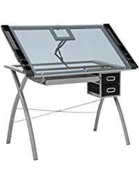 best choice products office drawing desk station tempered glass adjustable drafting table w drawers - Drafting Tables