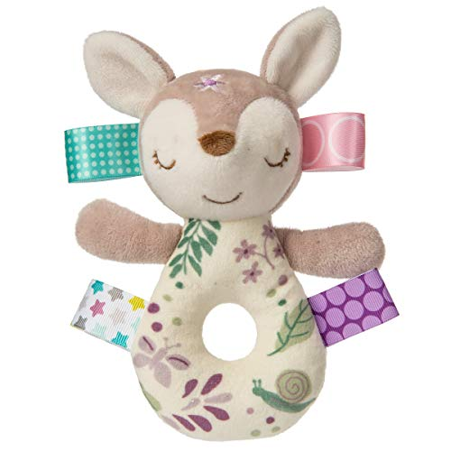 Taggies Sensory Stuffed Animal Soft Ring Rattle, Flora Fawn, 6