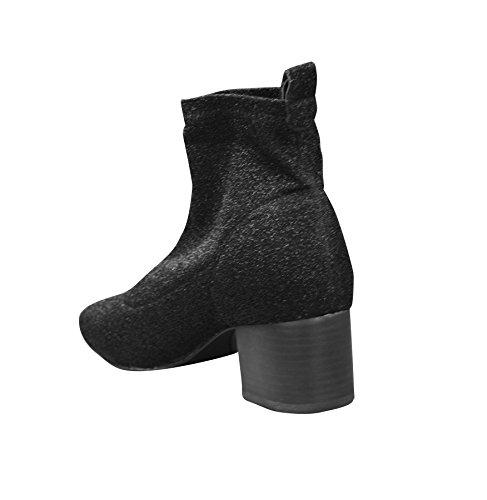 On Heel Glitter New Womens Ankle Slip Ladies Sock Black Block Boots qItq0w