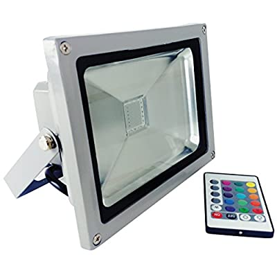 Sunlite LFX/LED/20W/FL/RGB RGB LED Flood Light Wall Mounted Fixture Outdoor, RGB Gray Finish