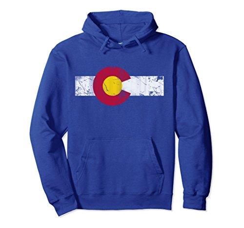 Unisex Vintage Colorful Colorado Flag Hoodie Small Royal Blue