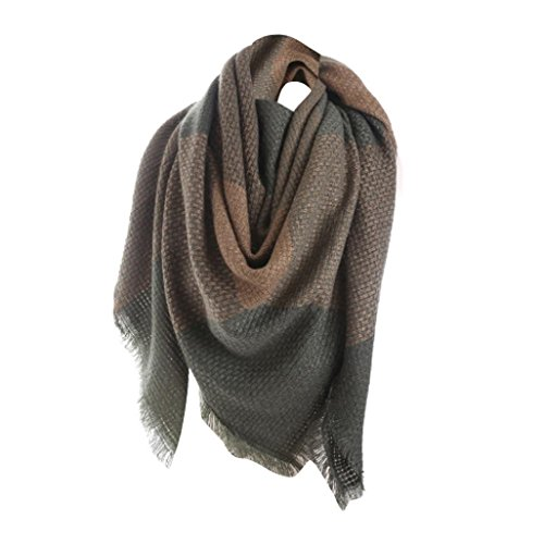 Warm Scarf,Han Shi Womens Classic Luxurious Long Plaid Shawl Scarf for Christmas Season (Green, L)