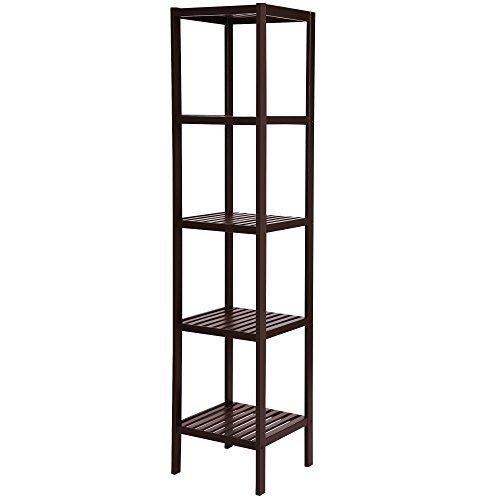 SONGMICS 100% Bamboo Bathroom Shelf 5-Tier Multifunctional Storage Rack Shelving Unit Towel Tower Bathroom Brown UBCB55Z