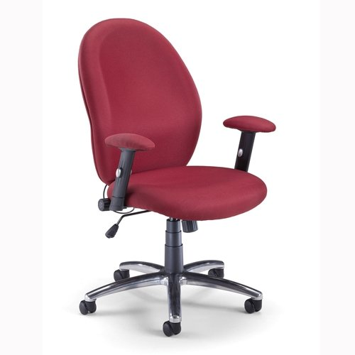Ergonomic Mid-Back Managerial Chair with Arms Fabric: Wine