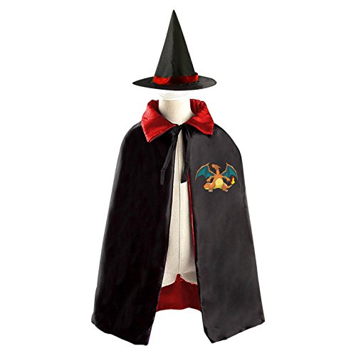 Costumes Picachu (Pocket Charizard Monster Witch Cloak Reversible Cosplay Costume Satin Cape Boys Girls Red)