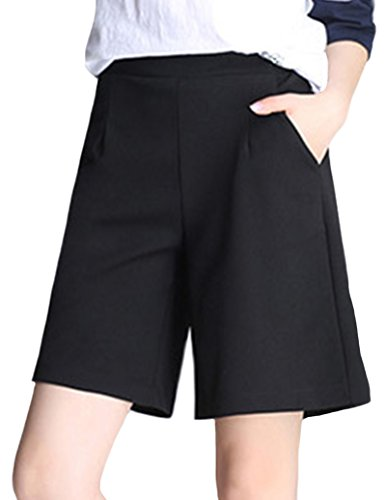 Ainovile Women's Chiffon Elastic High Waist Loose Casual Wide Leg Bermuda Shorts