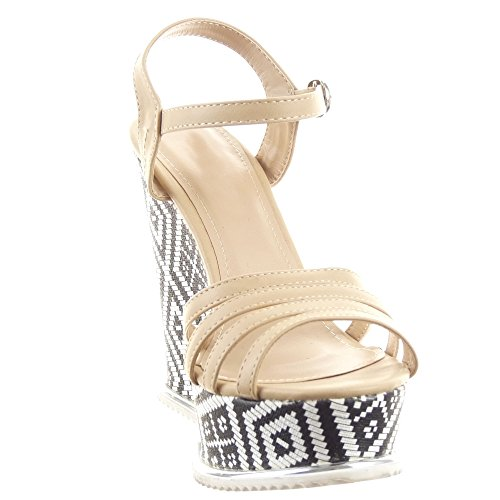 Sopily - damen Mode Schuhe Sandalen Pumpe Plateauschuhe Multi-Zaum - Beige
