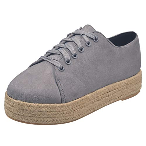 - 【HebeTop】 Women Slip On Platform Suede Penny Loafers High Heel Wedge Moccasins Walking Sneakers Gray