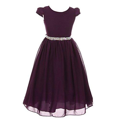 Kiki Kids Little Girls Eggplant Chiffon Rhinestone Waist Christmas Dress 2 from Kiki Kids