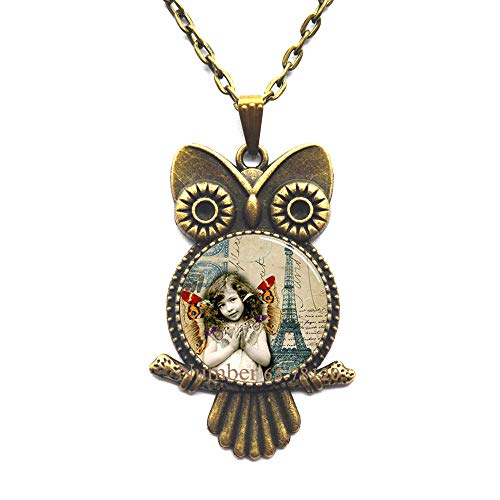 - Yijianxhzao with Butterflies and Eiffel Tower France French Paris Handcrafted Owl Necklace Pendant,Tower Owl Necklace Wearable Art Pendant Charm,BV133 (V2)