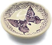 B JANECKA Purple Butterfly Soap Dish or Ring Tray, Pottery 9th Anniversary Gift, Handmade in USA
