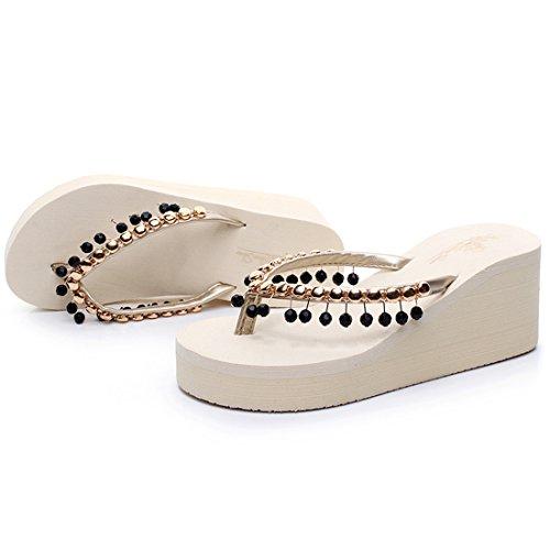 Vertvie Damen Sommer Schuhe Strand Sandalen Zehentrenner Indoor Outdoor Slipper Pantoletten Flip Flop mit Strass Beige 1