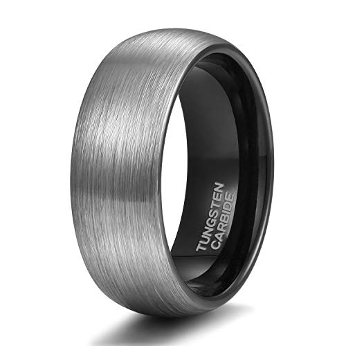 Shuremaster Tungsten Rings for Men 8mm Dome Brushed Black Wedding Band Size 9.5