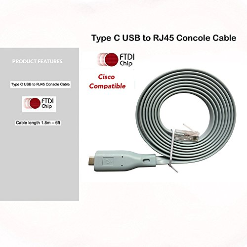Replacement Cisco Console Cable Type C USB to RJ45 - 1.8M (6 ft) FTDI Chip - USB to DB9 + 72-3383-01 Compatible w/ Windows 8, 7, Vista, MAC, Linux RS232