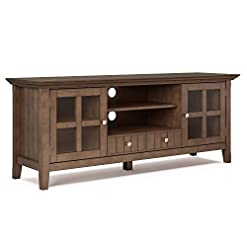 Farmhouse Living Room Furniture SIMPLIHOME Acadian SOLID WOOD Universal TV Media Stand, 60 inch Wide, Farmhouse Rustic, Storage Shelves and Cabinets… farmhouse tv stands