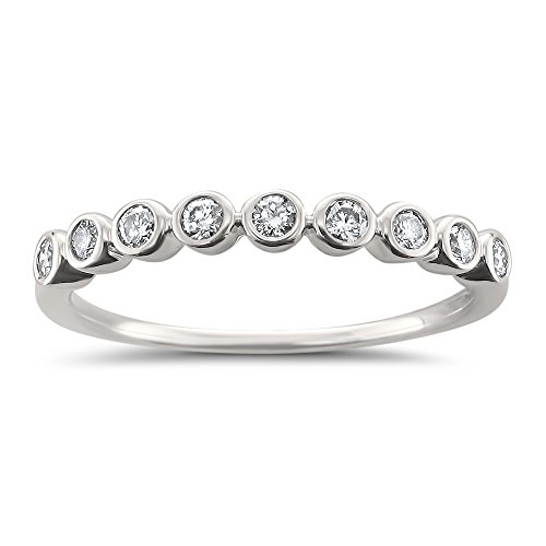 Bezel Diamond Wedding Band - 14k White Gold Round Diamond Bezel-Set Wedding Band Ring (1/4 cttw, I-J, I2-I3), Size 8