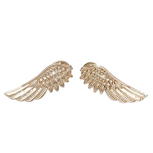 Red Gold Rhinestone Brooch (Botrong Punk Wings Style Collar Pin Brooch (Gold))