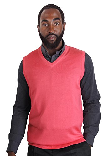 Blue Ocean Solid Color Sweater Vest Coral Large