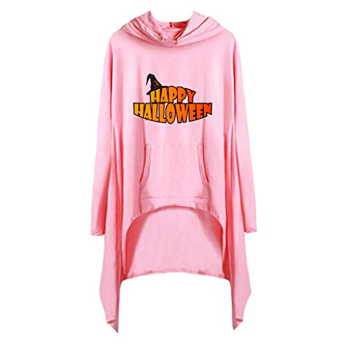 GREFER Halloween Costumes for Women Fashion Letter Printed T Shirts Long Sleeve Irregular Hooded Pullover Pink