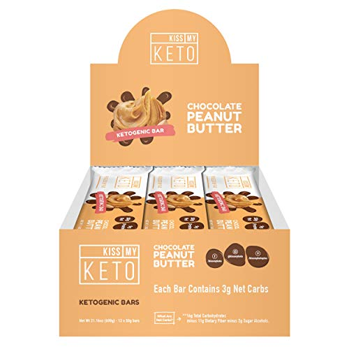 Kiss My Keto Snacks Keto Bars – Keto Chocolate Peanut Butter, Nutritional Keto Food Bars, Paleo, Low Carb/Glycemic Keto Friendly Foods, All Natural On-The-Go Snacks, High Quality Fat Bars 3g Net Carbs