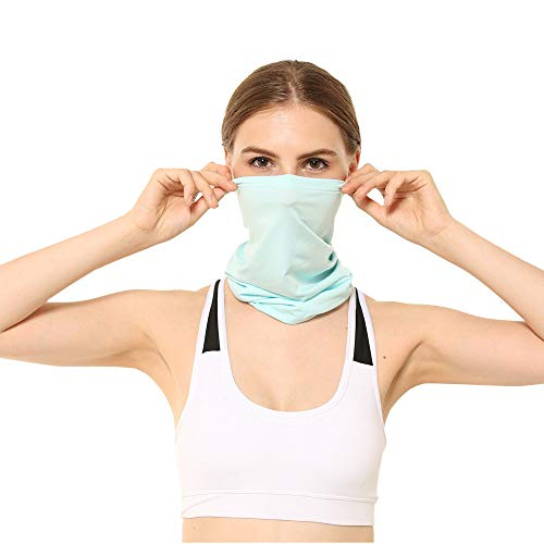 Dressin Unisex Magic Wide Wicking Headbands Headwear Bandana Sports Scarf Tube UV Face Mask for Workout Yoga Running Light Blue