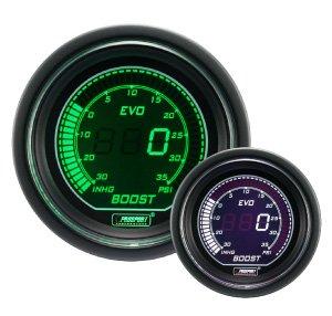 Boost Gauge- Electrical Digital Green/white EVO Series 52mm (2 1/16'') by Prosport Gauges