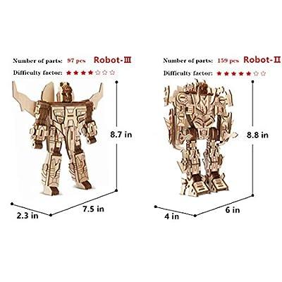 Robot Puzzles 3D Wooden Building Blocks Model Self-Assembly Craft Kit DIY Brain Teaser Toys Best Gifts for Women & Men(Robot): Toys & Games